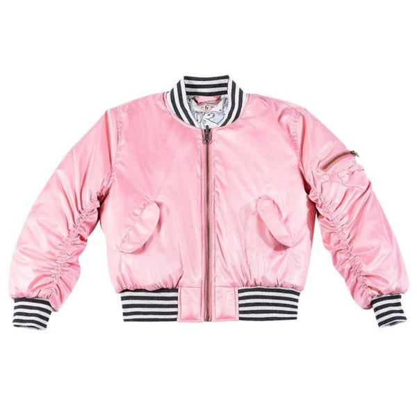 Paper Wings pink girls bomber jacket with stripe trim
