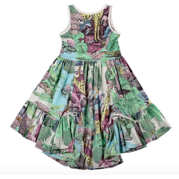 Paper wings green rainforest print girls twirl dress