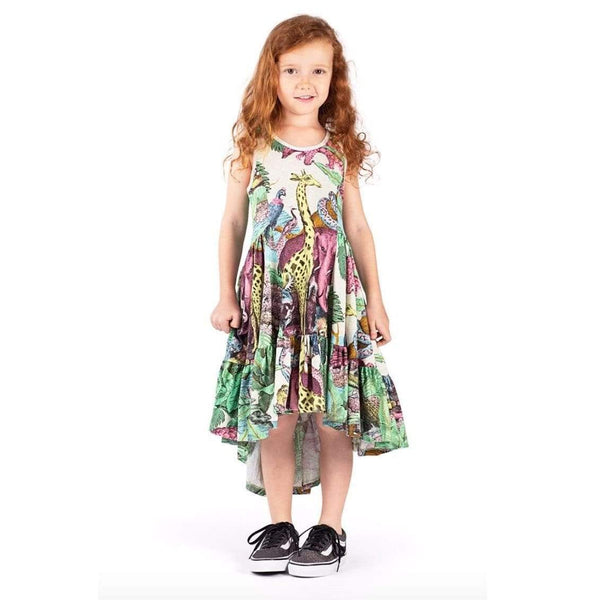 Paper wings giraffe print girls maxi dress