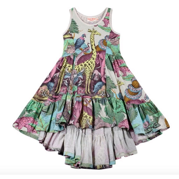Paper wings jungle animal sleeveless girls twirl dress with high low hem