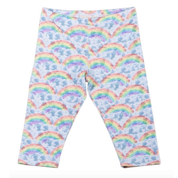 Paper wings rainbow and cloud print girls capri leggings
