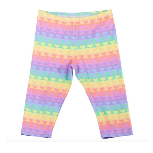 Paper wings rainbow heart girls capri leggings