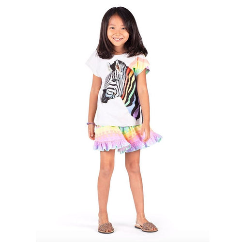 Paper wings rainbow heart print girls jersey shorts