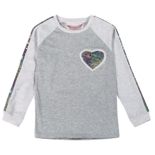 Paper Wings grey long sleeve sequin trim girls t-shirt