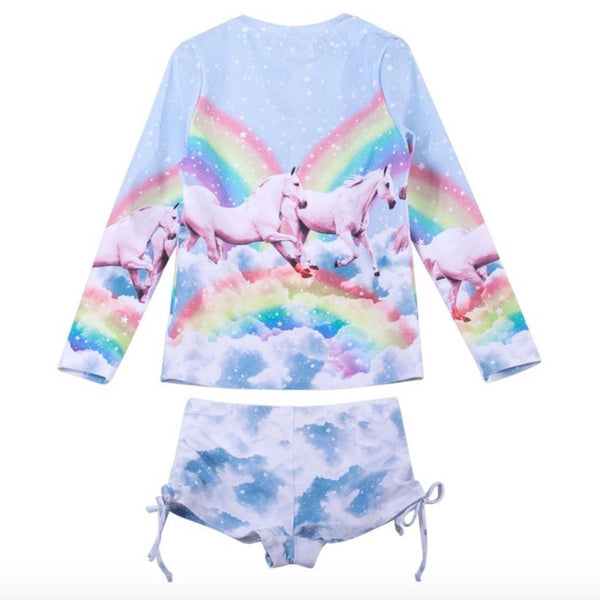Paper wings rainbow and unicorn girls swim suit