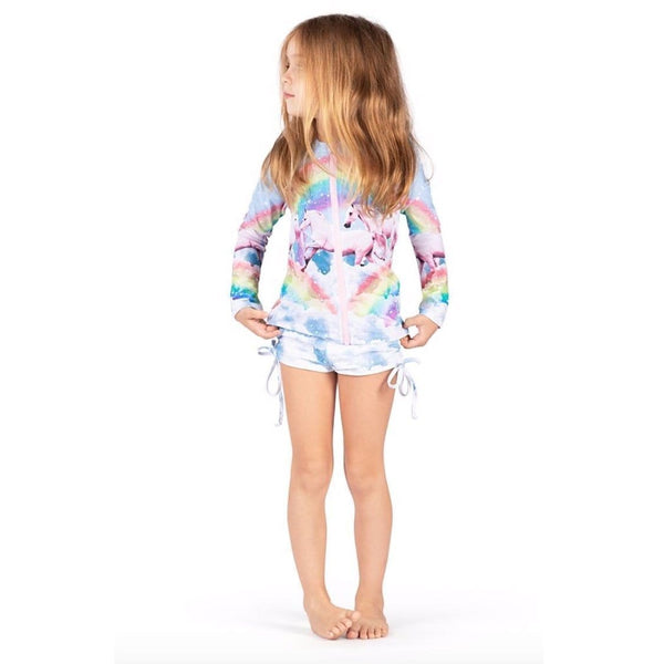 Paper wings rainbow and unicorn girls rash guard bathing suit