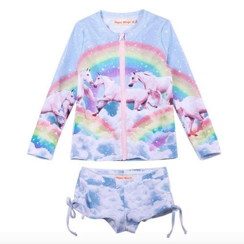 Paper wings rainbow and unicorn girls rash guard swim suit