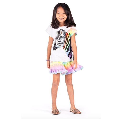 Paper wings rainbow zebra short sleeve girls t-shirt