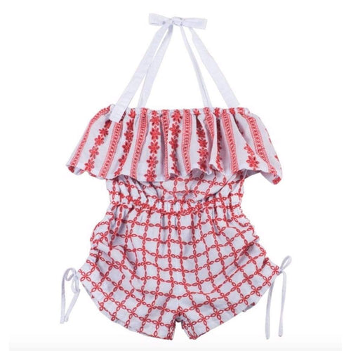 Paper wings red and white summer shorts girls romper with halter