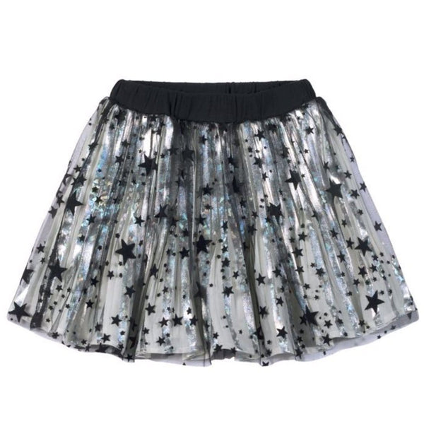 Paper wings silver with black stars girls skirt