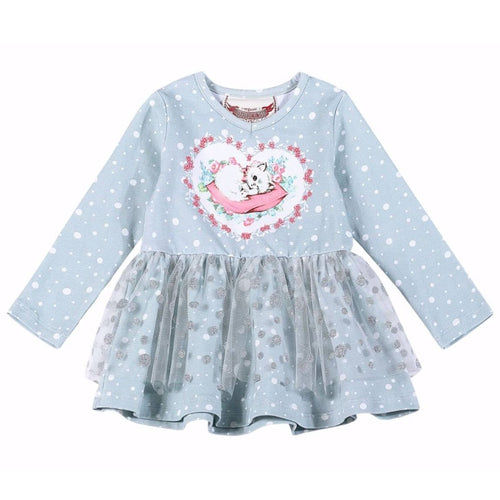 Paper wings kitten print baby girl tutu dress
