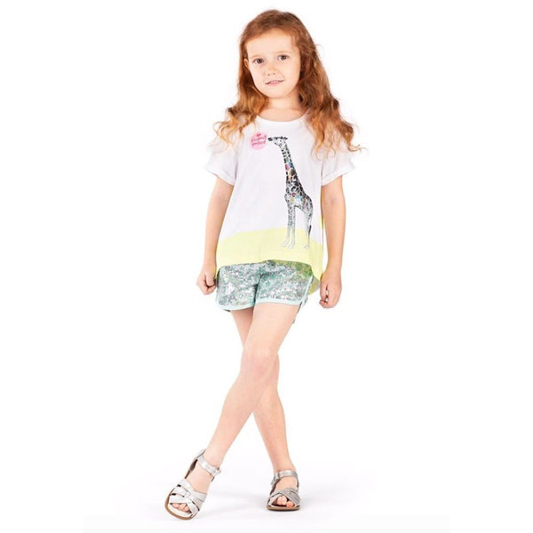 Paper wings mint and silver sequin girls shorts