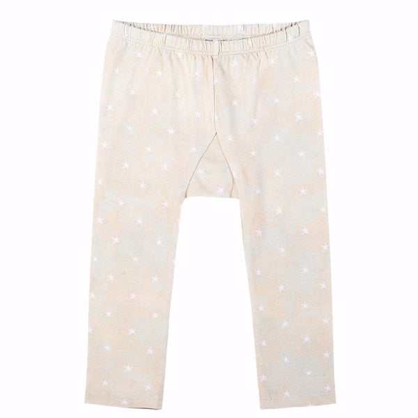 Paper wings cream star print baby girl leggings