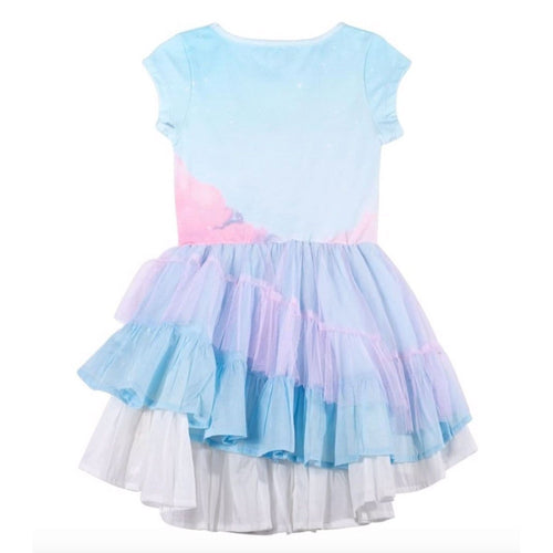 Paper wings unicorn print girls tulle dress