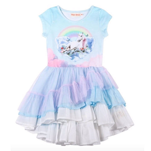 Paper wings unicorn tutu tulle toddler girls dress