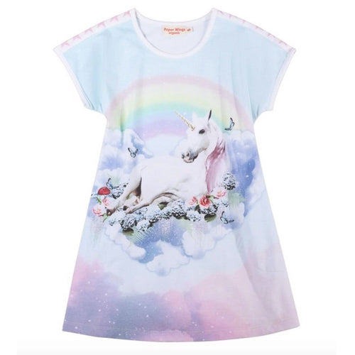 Paper wings unicorn rainbow short sleeve girls t-shirt dress