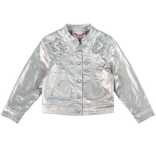 Paper wings silver unicorn embroidered girls and toddler jacket