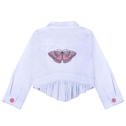 Paper wings light blue butterfly girls jacket