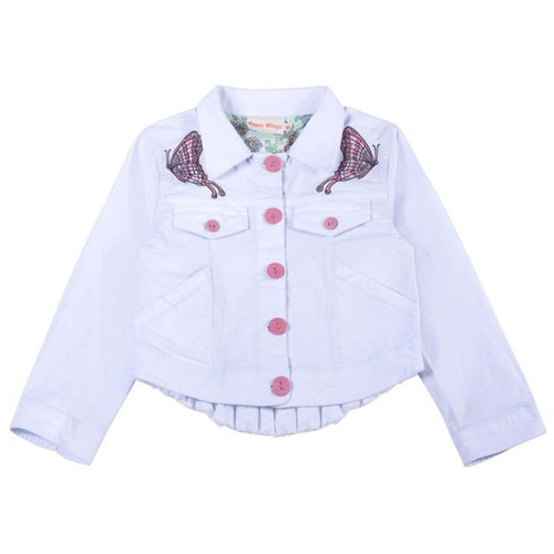 Paper wings light blue butterfly bustle girls jacket