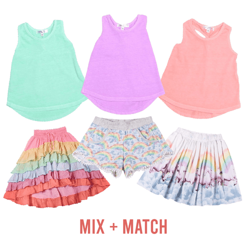 Paper wings rainbow girls shorts mix and match outfits