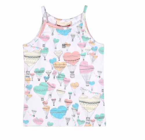 Girls white tank top with pastel heart hot air balloons