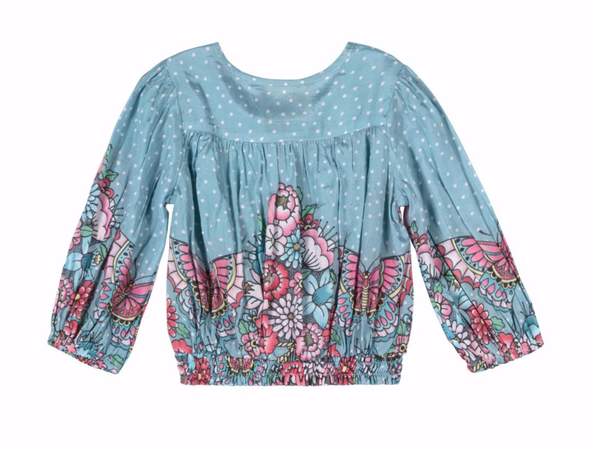Girls blue and pink print spring top