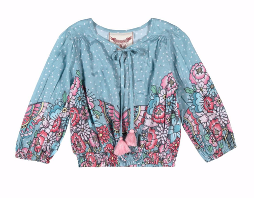 Girls blue and pink butterfly and floral print peasant top