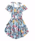 Butterfly print maxi dress for girls
