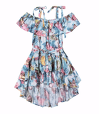 Girls butterfly print hi low dress with off shoulder ruffles