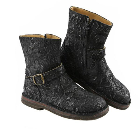 Patterned Black Biker Girls Boots by PePe Shoes