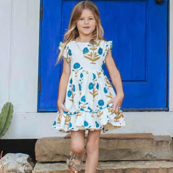 Pink Chicken blue floral short sleeve girls dress