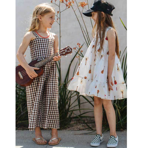 Pink Chicken guitar print sleeveless girls dress