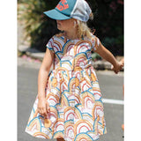 Pink Chicken rainbow print short sleeve girls dress