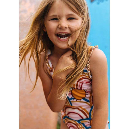 Pink CHicken rainbow one piece girls swimsuit