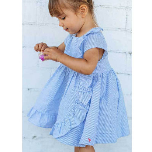 Pink Chicken blue stripe seeksucker short sleeve girls dress