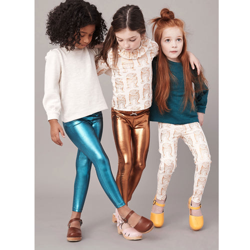 Pink chicken turquoise metallic girls leggings