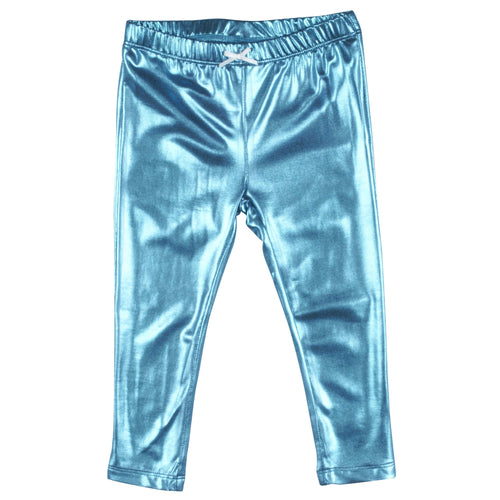 Pink chicken metallic turquoise girls leggings