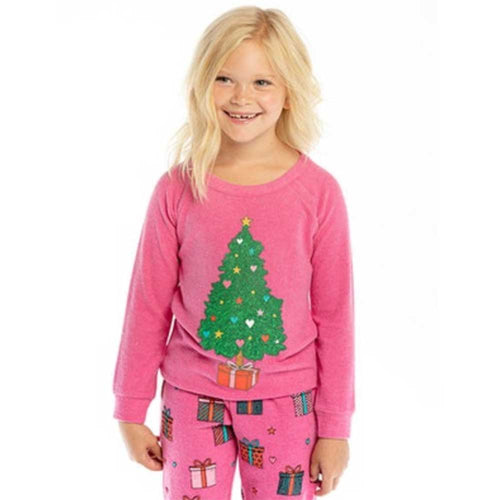 Chaser Kids Pink Christmas Tree Girls Love Knit Pullover