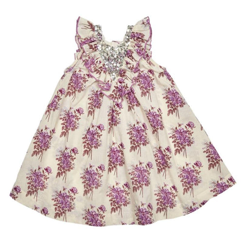 Lavender floral A line girls dress with silver sequins and flutter sleeves