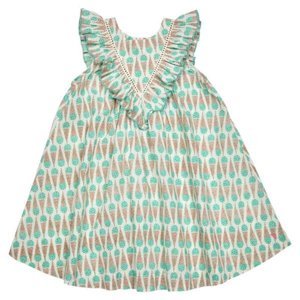 Mint green girls a line dress with ice cream print and ruffle collar
