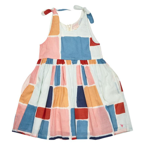 Colorful abstract printed girls sundress | Pink Chicken