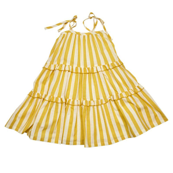 Pink Chicken yellow stripe girls sundress