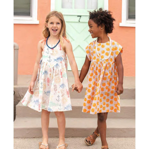 Pink chicken orange print short sleeve girls dress