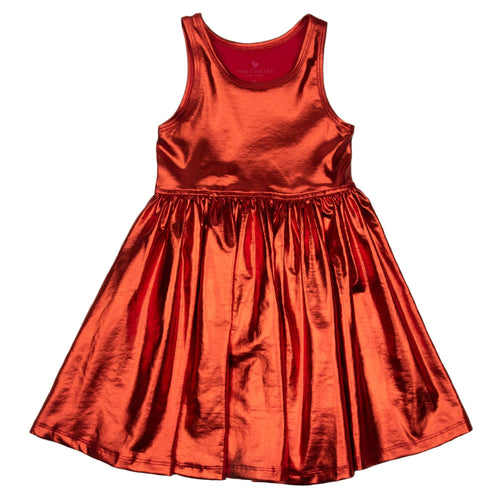 Pink chicken red metallic sleeveless girls dress