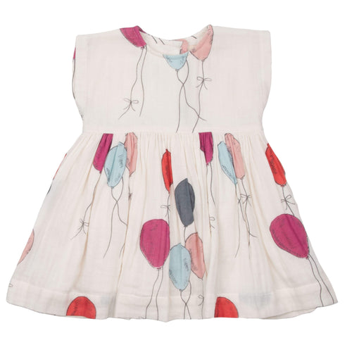 Pink chicken balloon print girls dress