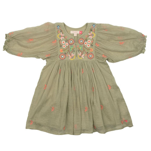 Pink chicken green embroidered girls dress