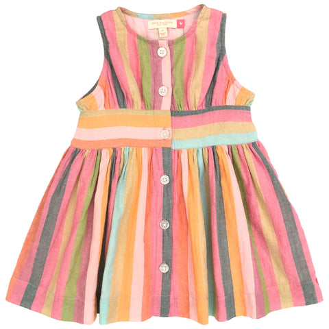 Pink Chicken Striped Birdie Girls Dress