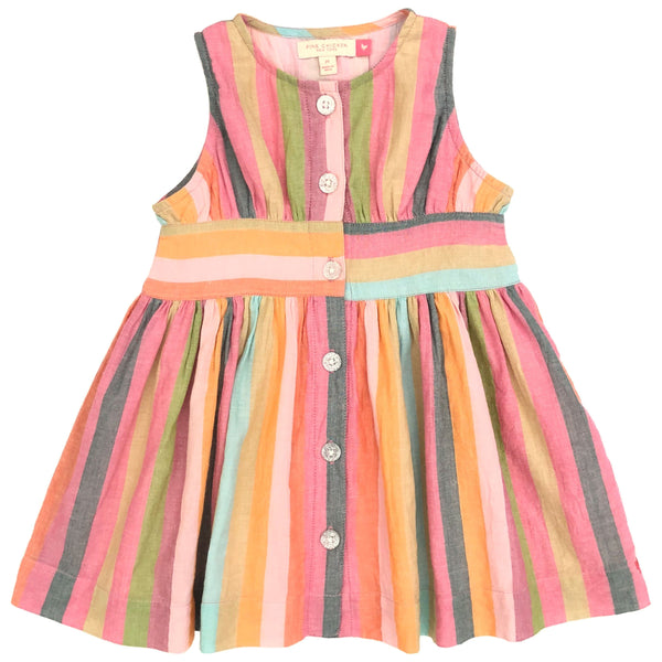 Pink chicken colorful stripe sleeveless girls dress