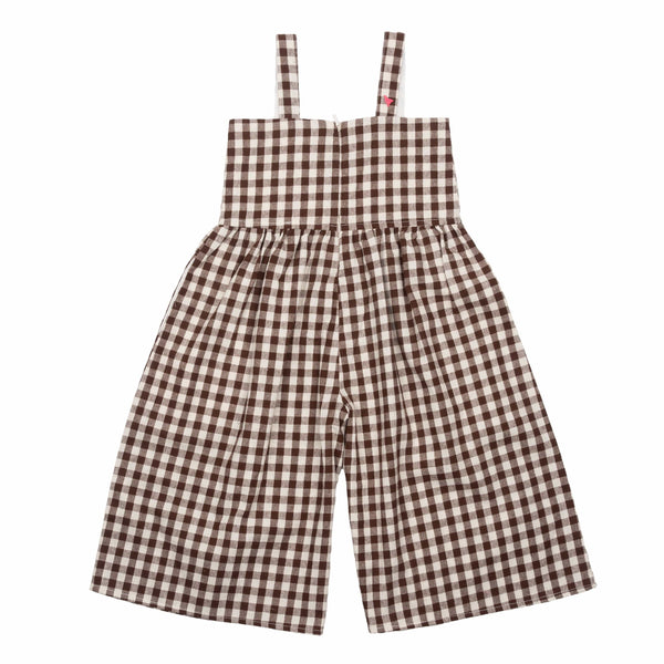 Pink chicken brown gingham girls jumper