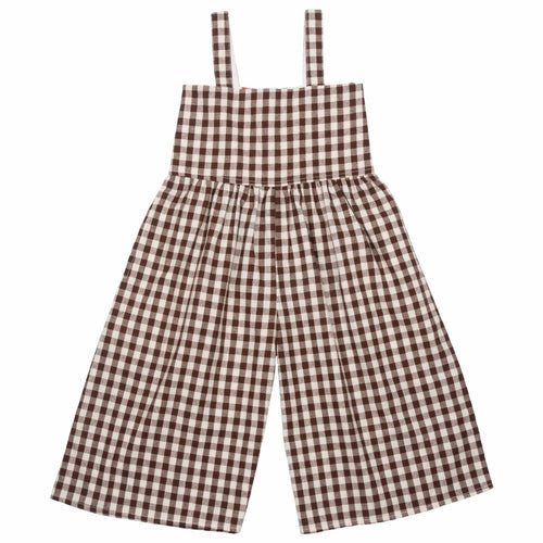 Pink chicken brown gingham girls romper